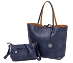 Reversible Tote with inner pouch in Navy and Camel