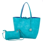 Reversible Large Tote-Teal/Periwinkle