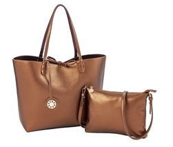 Reversible Tote with inner pouch in Copper and Eggplant