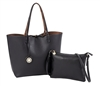 Reversible Tote with inner pouch in Black and Copper
