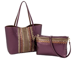 Embellished Large Tote in Eggplant