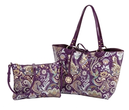 Eggplant Paisley Reversible Medium Tote