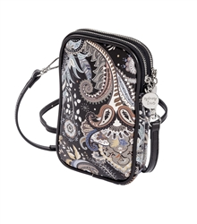 Black Paisley Double Zip Crossbody
