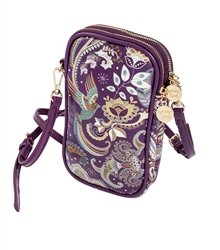Eggplant Paisley Double Zip Crossbody