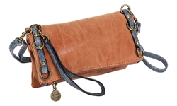 Terracotta and Denim Fold over Crossbody
