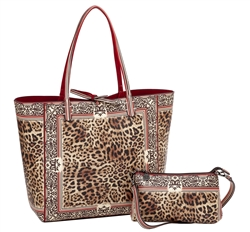 Leopard Print Reversible Large Tote