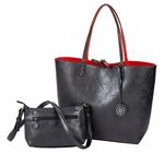 Reversible Tote with inner pouch in Coal and Paprika