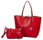 Reversible Tote with inner pouch in Brick Red and Olive