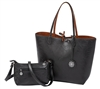 Reversible Tote with inner pouch in Black and Cognac