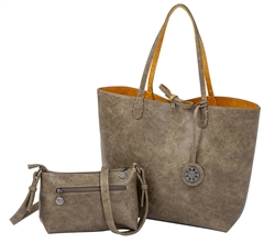 Reversible Tote with inner pouch in Stone and Curry