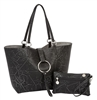 Distressed Black/ Silver Reversible Medium Tote