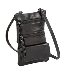Double Zip Cross Body-Black/Cell Phone Holder