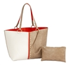 Colorblock Reversible Medium Tote-Creme/Orange/Khaki with inner pouch