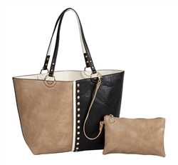 Colorblock Reversible Medium Tote-Khaki/Creme/Black with inner pouch