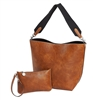 Brown & Black Bucket Tote