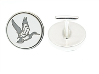 Men's sterling silver cufflinks engraved with mallard in flight.