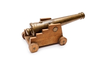 Vintage brass yachting cannon with wood carriage
