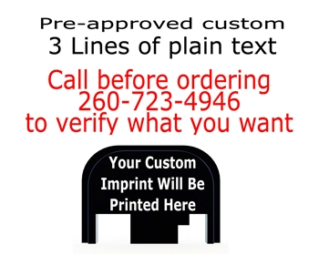 Pre-Approved custom 3 lines of text back plate for Glock