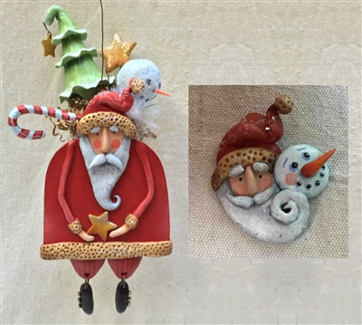 Here Comes Santa Ornament & Pin