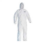 Kimberly Clark 44322 Kleenguard A40 Liquid & Particle Apparel, Zipper Front, Elastic Wrists & Ankles, Includes Hood, Medium, White, 25 Per Case