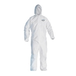 Kimberly Clark 44324 Kleenguard A40 Liquid & Particle Apparel, Zipper Front, Elastic Wrists & Ankles, Includes Hood, X-Large, White, 25 Per Case