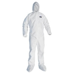 "Kimberly Clark 46126 Kleenguard Extra, Coverall, White, Zipper Front with 1"" flap, Elastic across the back"