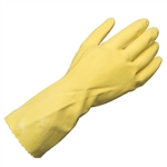 "Ammex LY17 17mil 12"" Flock Lined Yellow Latex Gloves 12 pair/package; 12 packs/case"