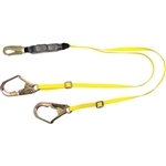 MSA 10129151 Workman Shock-Absorbing Lanyard, Twin Leg w/ Locking Rebar Hooks (Adjustable)