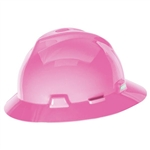 MSA 10156374 V-Gard Slotted Hat w/ Staz-On Suspension, Hot Pink