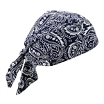 Ergodyne 12326 Chill-Its 6710 Triangle Hat, Tie Closure, Navy Western