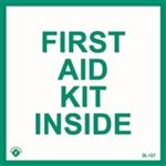"Brooks 157B ?First Aid Kit Inside?, Self-Adhesive, Vinyl, 4"" x 4"""