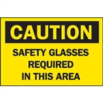 "Brady 41159 ""Caution: Safety Glasses Required In This Area"" Aluminum Sign, 10"" x 14"""