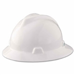 MSA 454733 V-Gard Slotted Full Brim Hard Hat with Staz-On Suspension, White