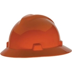 MSA 454734 V-Gard Slotted Full Brim Hard Hat with Staz-On Suspension, Orange