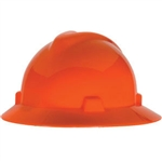 MSA 489360 V-Gard Slotted Hat w/ Staz-On Suspension, Hi-Vis Orange
