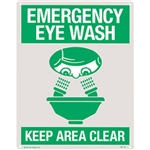 "Brooks 6176LP ""Emergency Eyewash"", Rigid Plastic, 8"" x 10"""