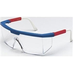 MCR Safety 9996 Crews Excalibur Safety Glasses, Red/White/Blue Temple, Clear Lens