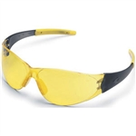 MCR Safety CK22 Crews Checkmate 2 Safety Glasses, Smoke Temple/Yellow Nosepiece, Amber Lens