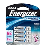 Energizer L92BP4 Ultimate Lithium AAA Batteries, 4/Pkg
