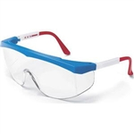 MCR Safety SS130 Crews Stratos Eyewear, Red/White/Blue Frame, Clear Lens