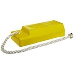 "Checkers AC3515-RP-S Each Aviation Chock 15"" Yellow Chock Body 24"" X 1/2"" Nylon Rope Rubber Pad"