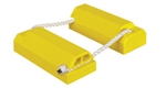 "Checkers AC4614-LR-RP Each 4"" X 6"" X 14"" Chock Body Yellow With Rubber Pad Rope Slot Logo Tiger Chock"