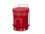 Justrite 05910R Biohazard Waste Can, 6 Gallon, Red