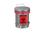 Justrite 05934 Biohazard Waste Can with SoundGard, 10 Gallon, Silver
