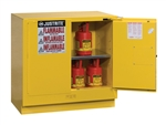 Justrite 892320 Flammable Safety Cabinet, U/C 22 Gallon, Self-Closing Doors, Yellow