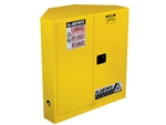 Justrite 893100 Cabinet, Corner 30 Gallon, Manual Closing Doors, Yellow