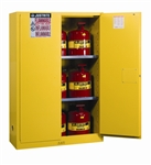 Justrite 894500 Flammable Safety Cabinet, 45 Gallon, Manual Closing Doors, Yellow