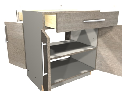 2 doors on the face and 2 doors on the back, pass-through base cabinet