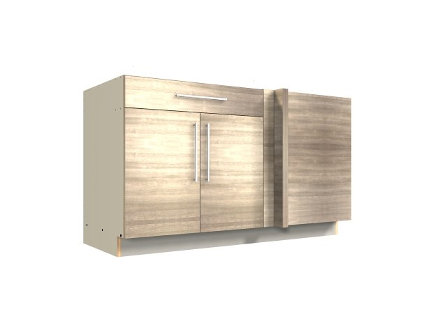 2 Door 1 Drawer Blind Corner Base Cabinet Blind On Right
