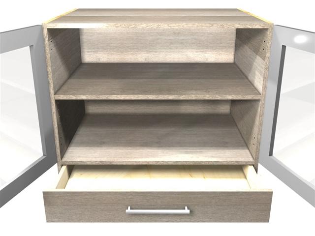 2 GLASS door 1 drawer base cabinet (drawer on bottom)